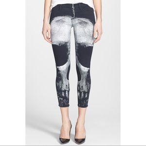 Hudson Black Skull Zipper Crop Skinny Jeans